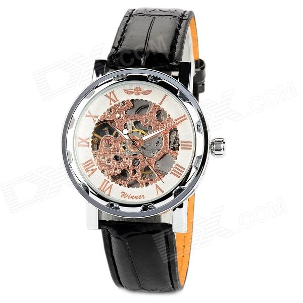 Men's Retro Self-Winding Mechanical Skeleton Wrist Watch w/ PU Leather Band - Silver + Black