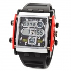 Sports PU Band Dual Time Display Wrist Watch w/ EL Backlight / Compass - Black + Red (1 x SR44SW)