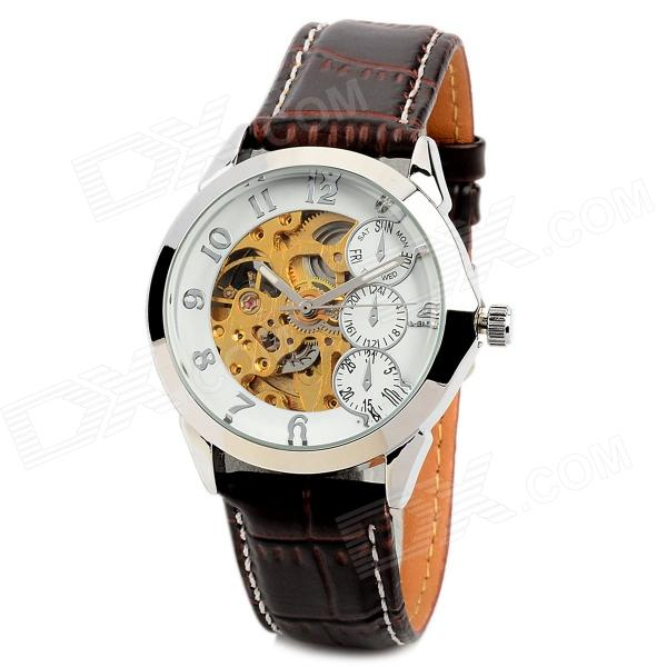 Stylish Men's Self-Winding Mechanical Skeleton Wrist Watch w/ PU Leather Band - White + Brown