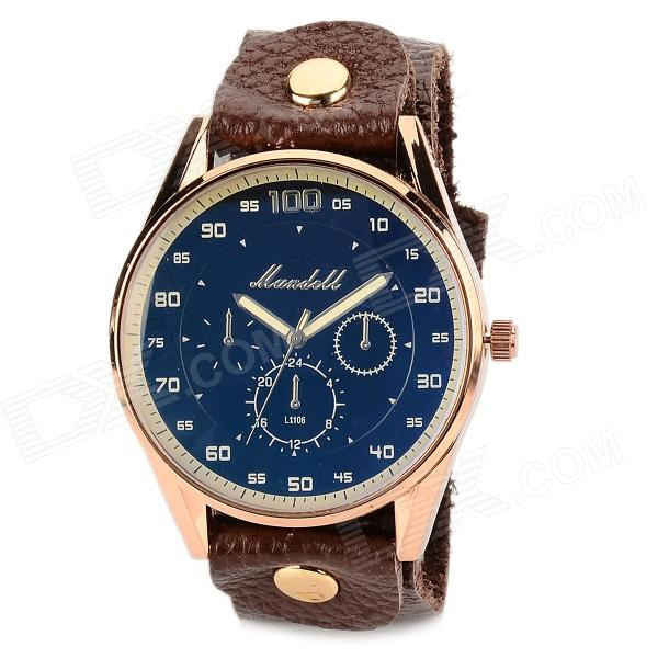 Elegant Men's Water-resistant Grail Quartz Wrist Watch w/ Rivet PU Band - Blue + Brown (1 x 377) s012 stylish shiny crystal inlaid leaf patterned analog quartz wrist watch w pu band 1 x 377