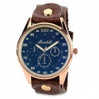 Elegant Men's Water-resistant Grail Quartz Wrist Watch w/ Rivet PU Band - Blue + Brown (1 x 377)