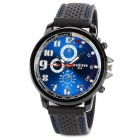 Men's Water-resistant Grail Noctilucent Quartz Wrist Watch w/ Silicone Band - Black + Blue