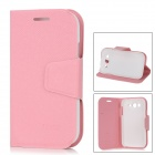 Protective PU Leather Cover Plastic Back Case Stand for Samsung Galaxy Grand Duos i9082 - Pink