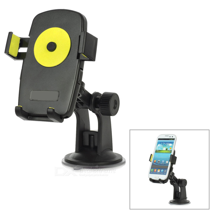 Universal 360 Degree Rotational Desktop Holder w/ Suction Cup for Cell Phone - Yellow + Black universal swivel tripod stand holder for cell phone camera black