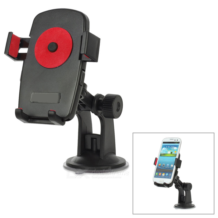 Universal 360 Degree Rotational Desktop Holder w/ Suction Cup for Cell Phone - Red + Black universal swivel tripod stand holder for cell phone camera black