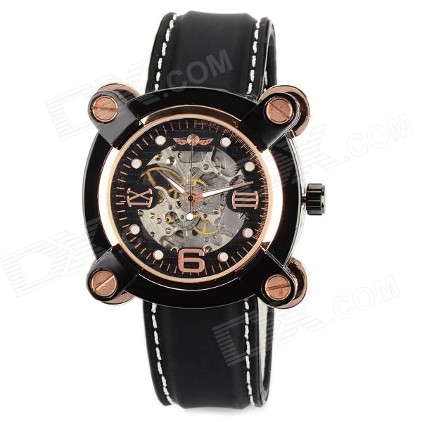 Men's Stainless Steel Self-winding Mechanical Water-resistant Wrist Watch w/ Silicone Band - Black