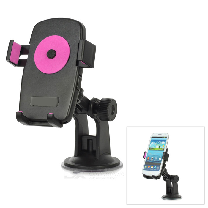 Universal 360 Degree Rotational Desktop Holder w/ Suction Cup for Cell Phone - Pink + Black universal swivel tripod stand holder for cell phone camera black