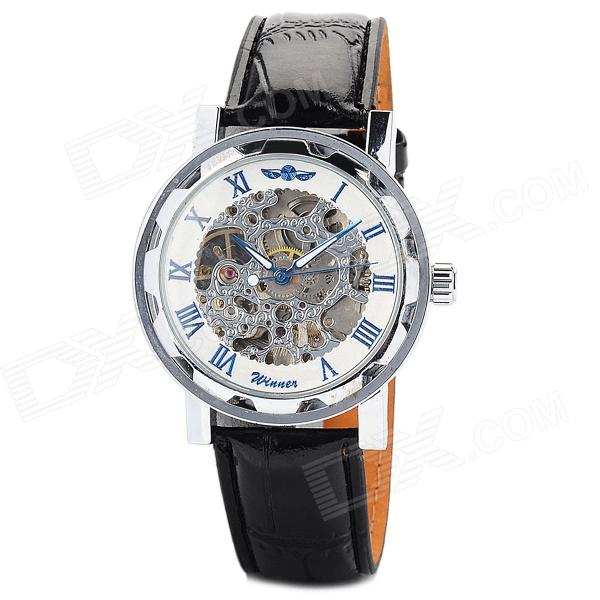 Men's Self-winding Skeleton Mechanical Watch w/ PU Leather Band - Silver + Black