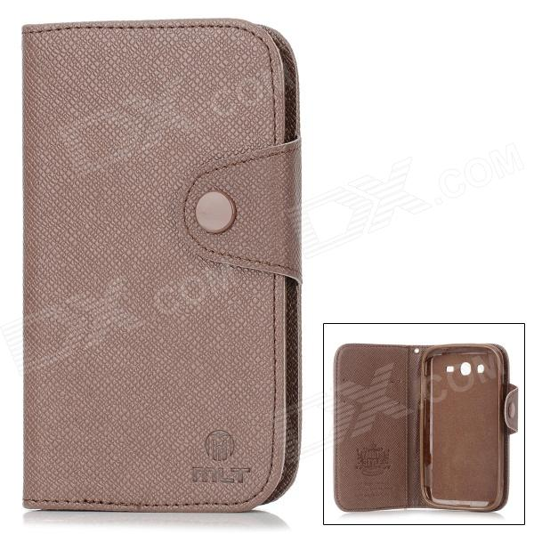 MLT A3510 Protective PU Leather Case w/ Hand Strap for Samsung Galaxy Grand Duos i9082 - Brown protective pu leather plastic case for samsung galaxy grand duos i9082 black