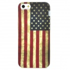 Retro Style American Flag Pattern PVC Back Case for Iphone 5 - Red + White + Blue