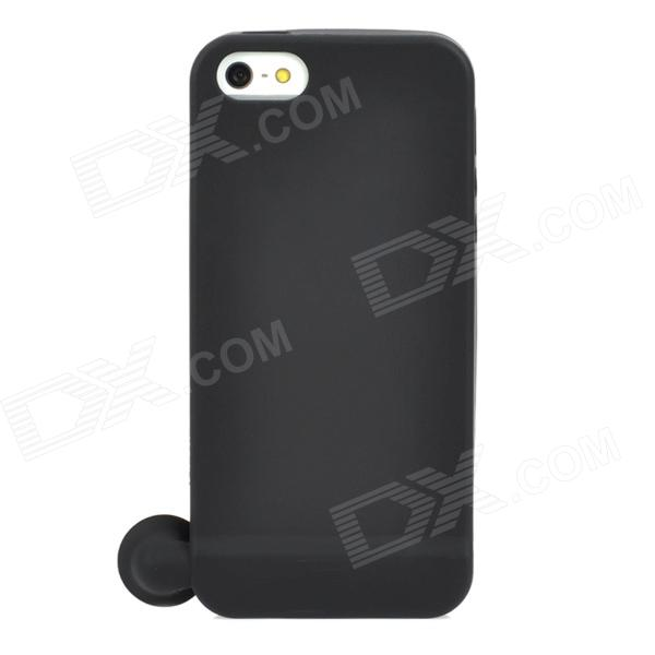 Protective Silicone Back Case w/ Audio Horn Amplifier for Iphone 5 - Black stylish bubble pattern protective silicone abs back case front frame case for iphone 4 4s