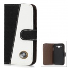 Protective PU Leather Cover Plastic Back Case for Samsung Galaxy Grand Duos i9082 - Black + White