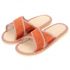 HQS-G101214 Casual Flax + PVC Cross Home Slippers for Lady - Orange (Pair / Size 39~40)
