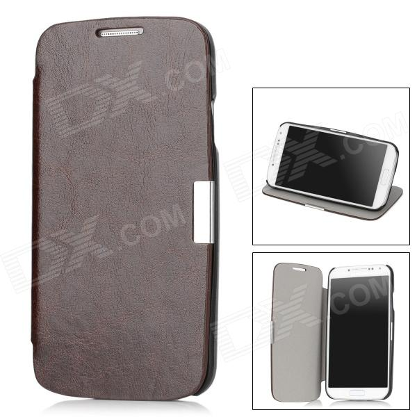 Protective Flip-Open PU Case for Samsung Galaxy S4 i9500 - Brown + Black