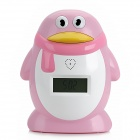 "Cute Penguin Shape 2.2"" LCD 6-Digit Money Box Bank w/ Time + Alarm - Pink + White (2 x AA)"