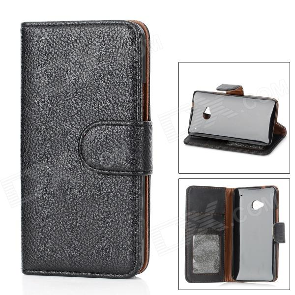 Protective Flip-Open PU Leather w/ Card Slot for HTC M7 - Black genuine leather protective flip open case for htc one m7 black