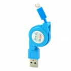 Retractable USB 8 Pin Lightning Male Charging Data Cable for iPhone 5 + iPad 4 + More - Blue (80cm)