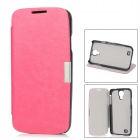 Stylish Protective PU Leather + Plastic Case for Samsung Galaxy S4 i9500 - Deep Pink + Black