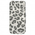 Leopard Pattern Protective Top Flip-Open PU Leather Case for Iphone 5 - Grey