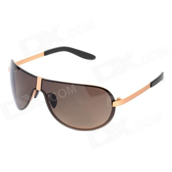 8490 UV400 Protection Driving Monel Frame Resin Lens Sunglasses for Men - Golden + Tan retro women sunglasses polarized driving sun glasses with pc metal hinge shades uv400 protection gafas de sol mujer 4 colors