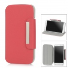 Protective Rotatable Case w/ Stand for Samsung Galaxy S4 i9500 - Deep Pink + Grey
