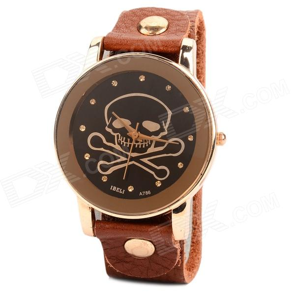 Men's Stylish Self-winding Skull Pattern Quartz Wrist Watch w/ Rivet PU Band - Black + Brown s012 stylish shiny crystal inlaid leaf patterned analog quartz wrist watch w pu band 1 x 377