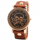 Men's Stylish Self-winding Skull Pattern Quartz Wrist Watch w/ Rivet PU Band - Black + Brown