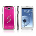 Enkay Electroplated S-Shape Strass Kunststoff-Etui für Samsung Galaxy S3 I9300 - Deep Pink + Silver