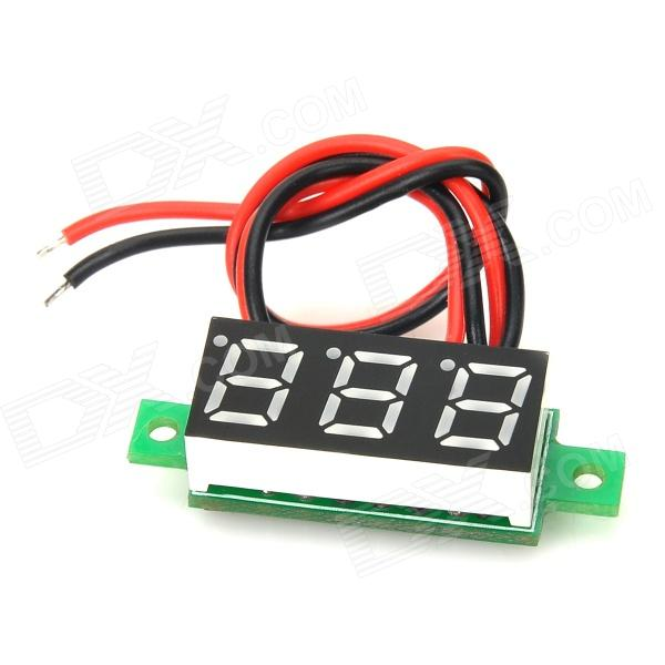 V18D Dual-Wire 0.28 LED 3-Digital DC Voltmeter Module w/ Fine Adjustment - Black + Green (3.0V~30V) 100 pcs ld 3361ag 3 digit 0 36 green 7 segment led display common cathode