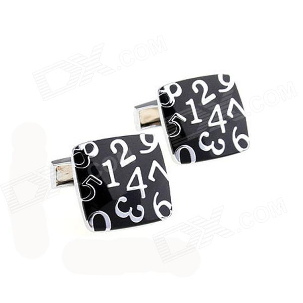 Exquisite Number Patterns Stainless Steel Cufflinks for Men - Black + Silver (Pair)