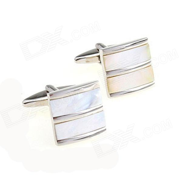 Creative Square Shell Design Stainless Steel Cufflinks for Men - Silver (Pair)