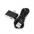 Lightning Connector + Female Micro USB + Female Mini USB 3-in-1 Adaptor + Micro USB Cable - Black
