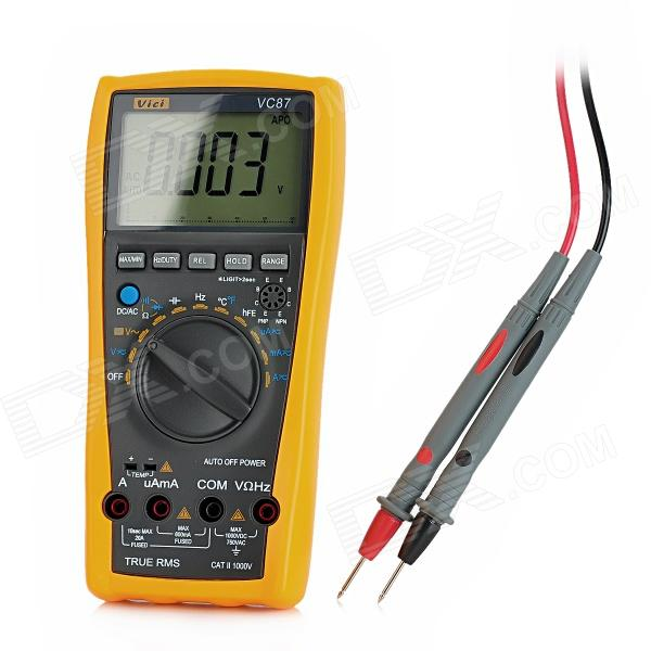 VICHY VC87 3 LCD Digital Frequency Voltage Multimeter - Grey + Orange (1 x 6F22) my68 handheld auto range digital multimeter dmm w capacitance frequency