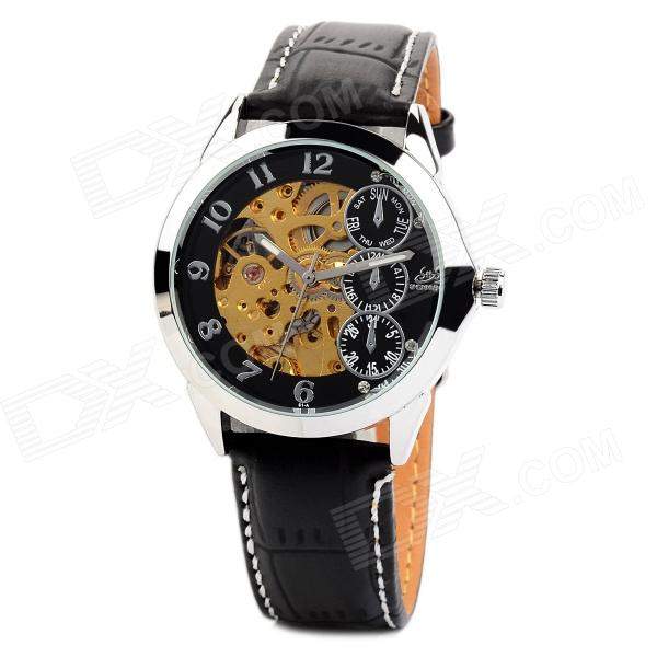 Men's Stainless Steel Self-winding Mechanical Water-resistant Wrist Watch - Black