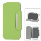 360' Rotation Protective PU Leather Case Stand for Samsung Galaxy S4 i9500 - Light Green + Grey