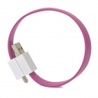 Micro USB Male to USB Male Magnetic Data Cable - Magenta + White (19cm)