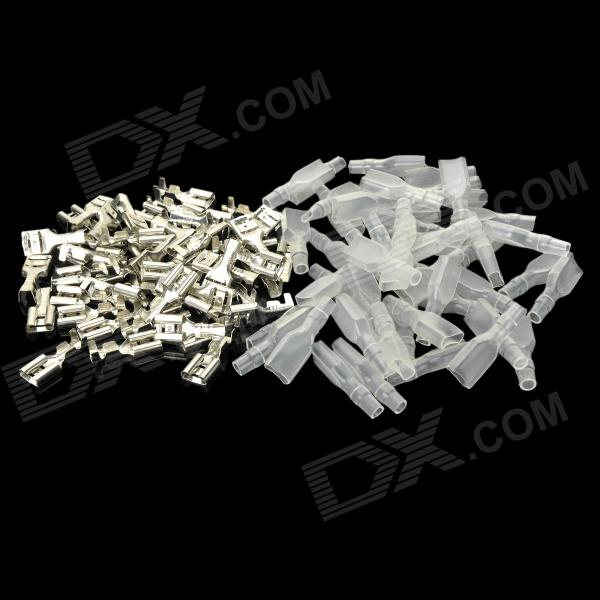 6.3mm Female Spade Crimp Terminal Connector Set w/ Waterproof Covers - Silver (50 PCS) 400 pcs wire copper crimp connector insulated cord pin end terminal