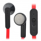 BYZ-S600 Flat In-Ear Earphone w/ Microphone for Iphone 5 - Red (3.5mm Plug / 120cm)