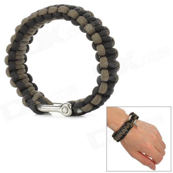 Bracelet Style Outdoor Survival Emergency Umbrella Rope - Black + Light Brown