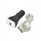 Dual USB Ports Car Charger w / Apfel 30pin Kabel für iPhone 4S / iPad + More (100cm-Kabel) - Schwarz