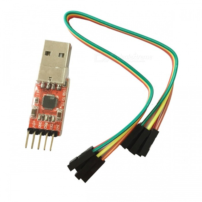 CP2102 STC Download USB to TTL Module w/ Dupont Cables - Red + SilverBoards &amp; Shields<br>ModelCP2102Quantity1ColorRed + silverMaterialPlastic + ironFeaturesSTC download cableSpecificationPractical COM port driving device, can match w/ current PC; Support Windows 98, ME, CE, 2000, XP, Mac OS 9, Mac OS X &amp; Linux 2.40; Application: RS-232 traditional device to USB upgrade, cellphone USB port cable, PDA USB cable, USB to RS-232 serial adapter; Power: 3.0~3.6V; USB total power supply: 4.0~5.25V; Information can be download from http://www.kuaipan.cn/file/id_10606769629826677.htmlApplicationUSB to TTL cableEnglish Manual/SpecYesPacking List1 x Module4 x Dupont cables (21cm)<br>