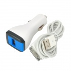 Dual USB Ports Car Charger w / Apfel 30pin Kabel für iPhone 4S / iPad + More (100cm-Kabel) - White