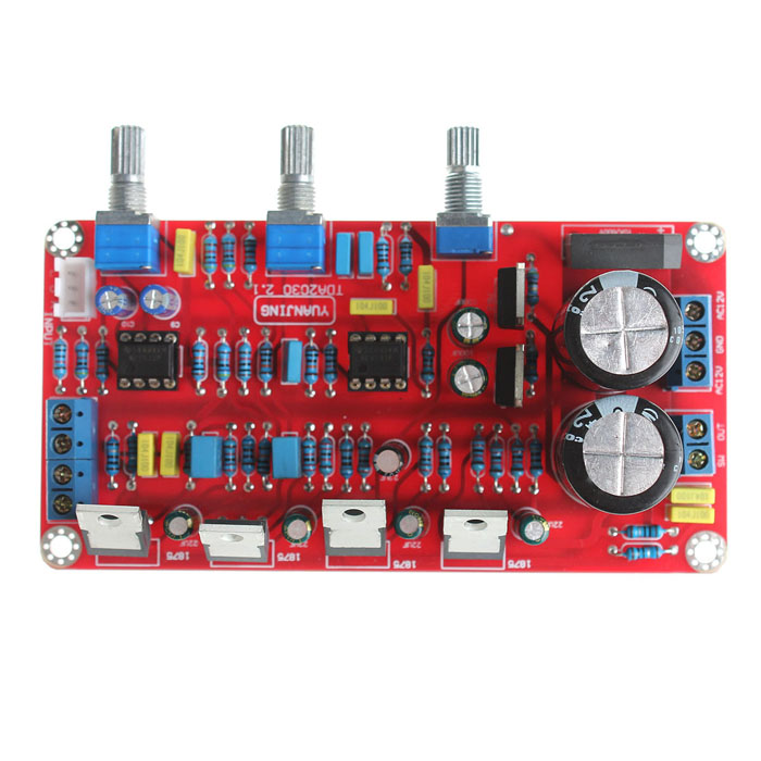 GZYJ1305 2 x 25W Left and Right Channels + 50W Super Bass Power Amplifier Module - Red original audio note 100k double left and right channels intermediate balance potentiometer