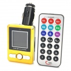 "1.4"" LCD Car MP3 FM Transmitter w/ Remote Controller / SD / TF Card Slot - Yellow + Black"