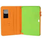 Protective Basketball-lined PU Leather Flip-Open Case for Samsung N8000 - Green + Yellow