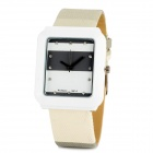 Square PU Leather Band Analog Quartz Wrist Watch for Men - Grey + White