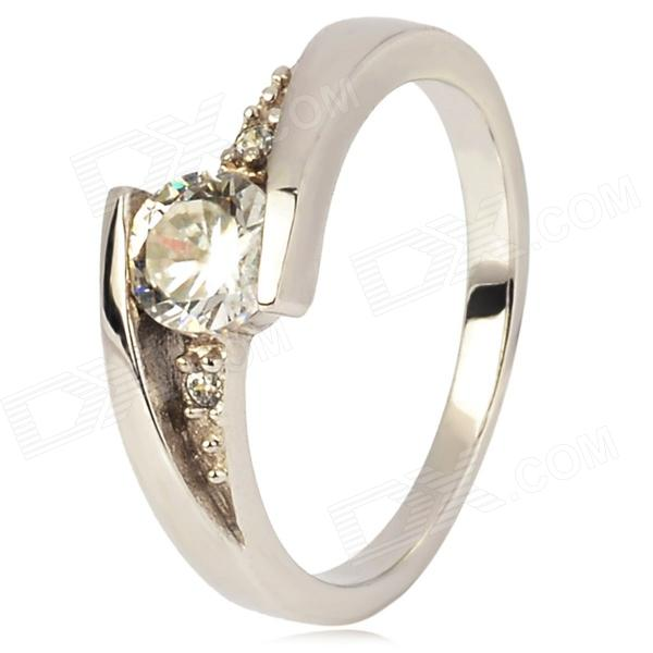 Copper Plated Platinum Ring for Women - Silver