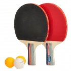Rubber Sheet Table Tennis Racket w/ Ping-Pong Ball - Red + Black