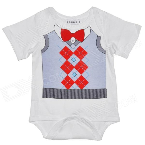 Cute Sweater Waistcoat / Vest Style Infant Baby Bodysuit / Rompers Suit - White + Red + Grey