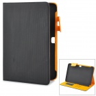 Protective Basketball-lined PU Leather Flip-Open Case for Samsung N8000 - Black